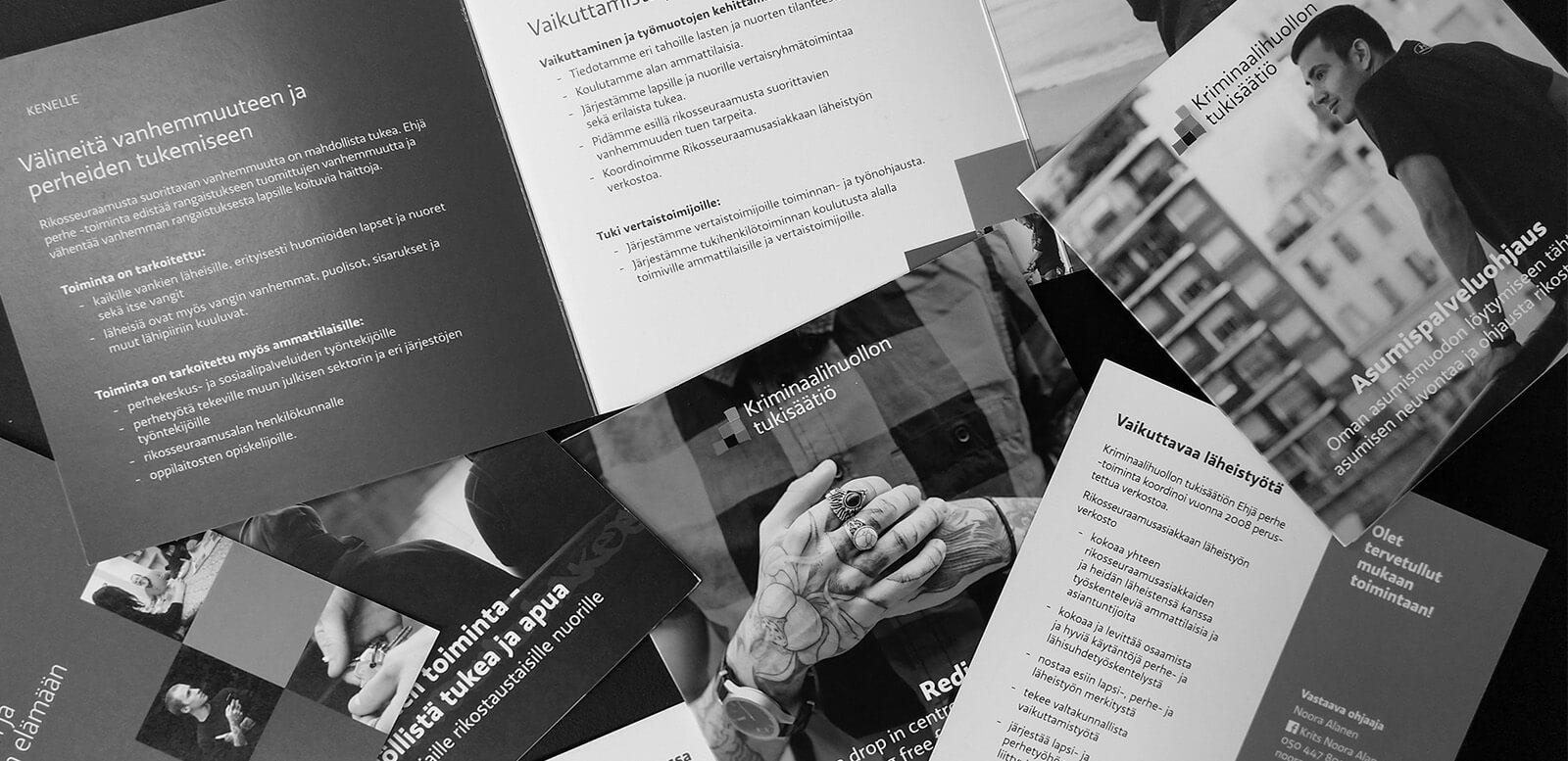 Design Inspiksen toteuttamia painotuotteita Kriminaalihuollon tukisäätiölle