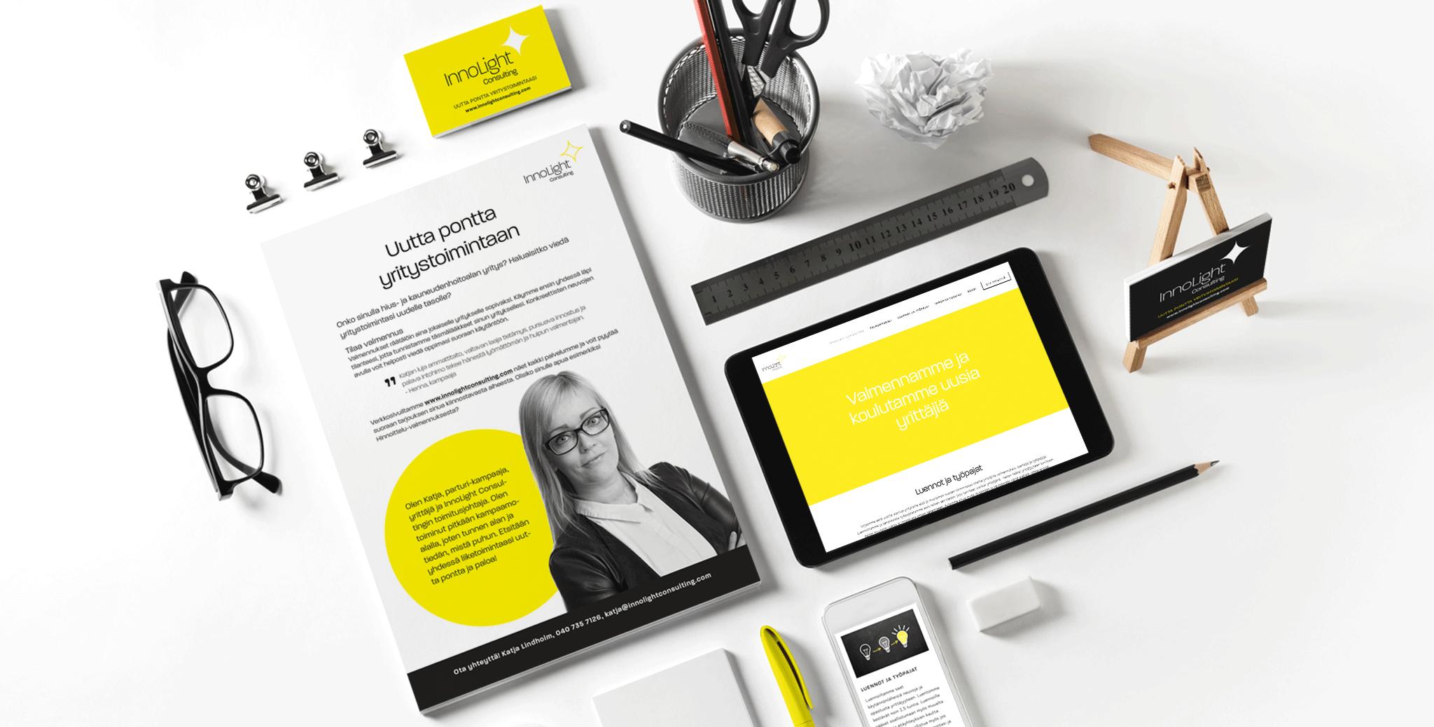 Design Inspiksen suunnittelema yritysilme Innolight Consulting -yritykselle