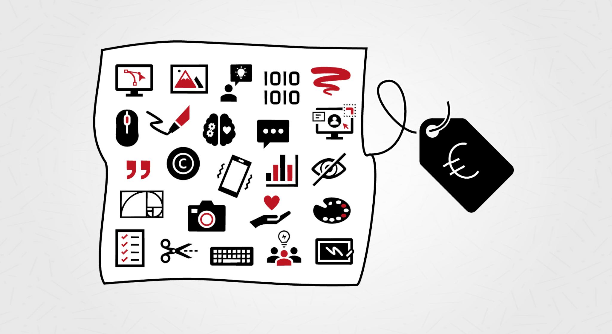 Design Inspis graafisen suunnittelun hinta, symboleita