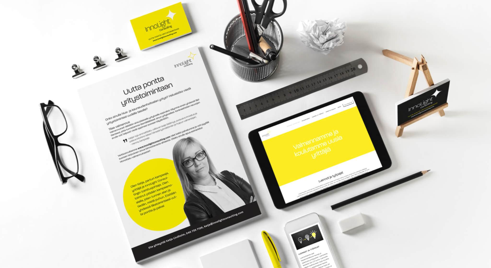 Brändin rakentaminen: kuvassa Design Inspiksen Innolight-yritykselle luoma ilme.