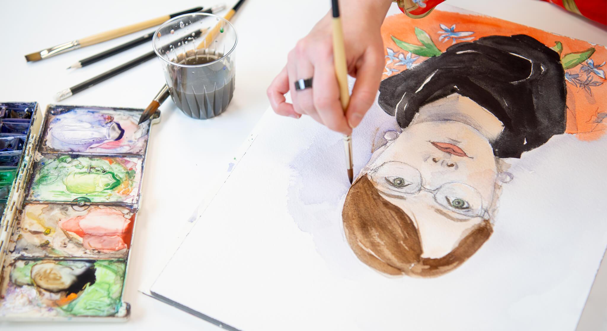 Kuvitukset, Design Inspis, maalaus: Miia Törmänen, omakuva.
